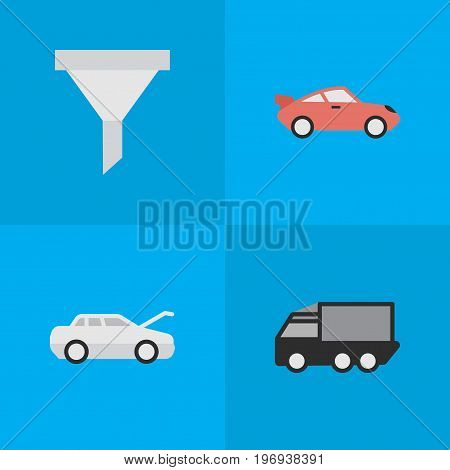 Elements Automobile, Coupe, Lorry And Other Synonyms Filter, Strainer And Car.  Vector Illustration Set Of Simple Traffic Icons.