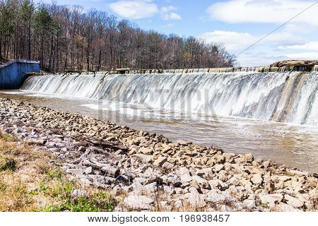Small Dam With Running Water Fall In Accotink Park In Fairfax, Virginia