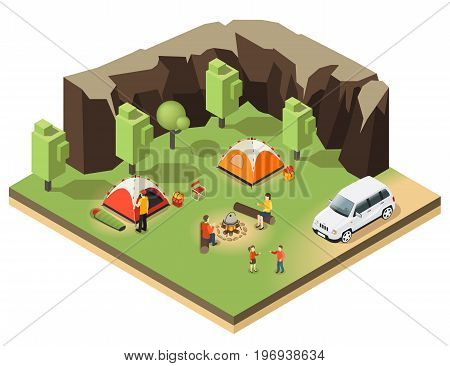 Colorful isometric outdoor recreation concept with camping and people relaxing in forest near mountains isolated vector illustration