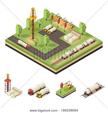 Colorful isometric oil extraction composition with tankers trucks drilling rigs barrels derrick isolated vector illustration