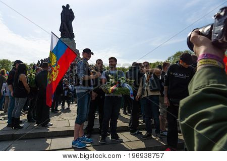 BERLIN - MAY 09 2015: Victory Day. Monument to the Liberator Soldier in Treptow Park.