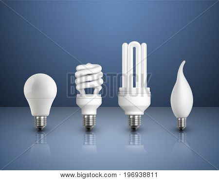Realistic modern bulbs collection with led incandescent halogen and fluorescent lamps on glossy background isolated vector illustration