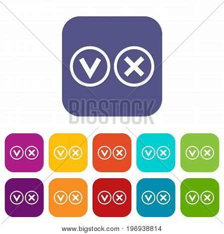 Signs of choice of tick and cross icons set vector illustration in flat style in colors red, blue, green, and other
