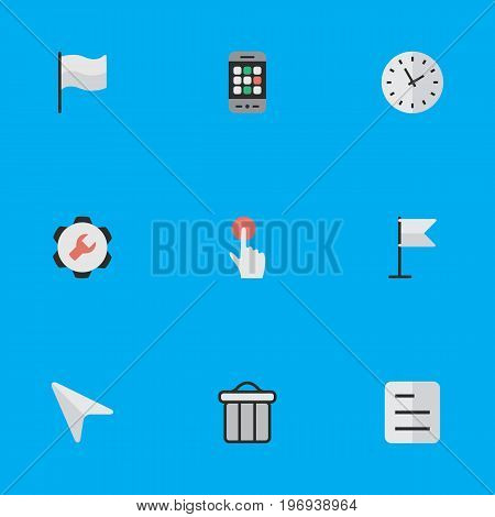 Elements Switch Knob, Pointer, Flag And Other Synonyms Time, Smartphone And Settings.  Vector Illustration Set Of Simple Design Icons.