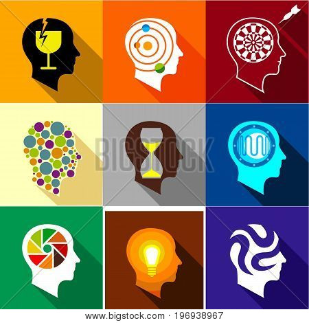 Brain activity icons set. Flat set of 9 brain activity vector icons for web with long shadow