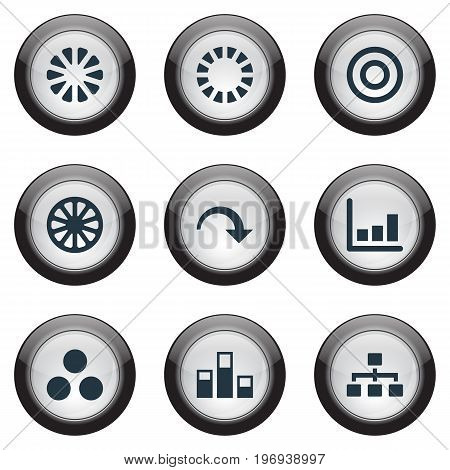 Elements Truck, Part, Contour And Other Synonyms Circle, Statistics And Decrease.  Vector Illustration Set Of Simple  Icons.