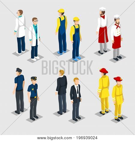 Isometric professions collection with male doctor painter chef policeman manager firefighter isolated vector illustration