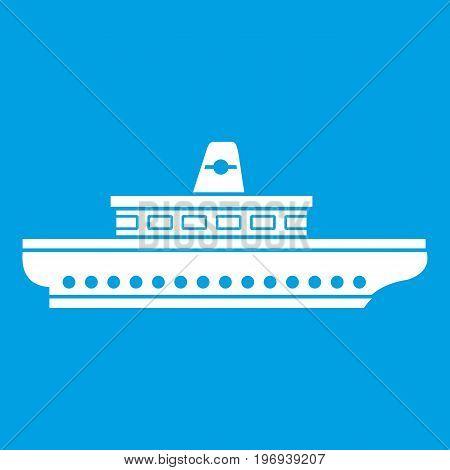 Passenger ship icon white isolated on blue background vector illustration