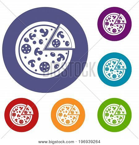 Delicious italian pizza lifted slice one icons set in flat circle red, blue and green color for web