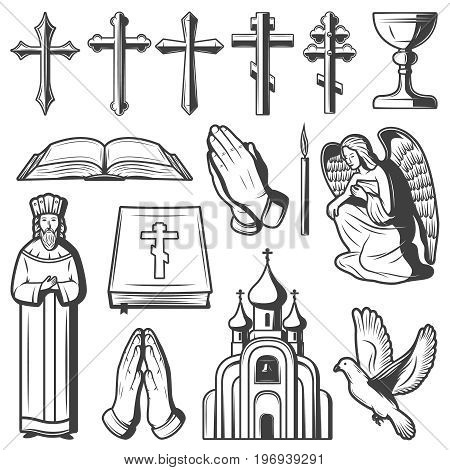 Vintage religious elements collection with different crosses goblet priest bible church angel dove candle prayer hands isolated vector illustration