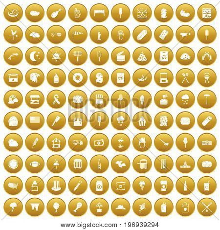 100 street food icons set in gold circle isolated on white vector illustration
