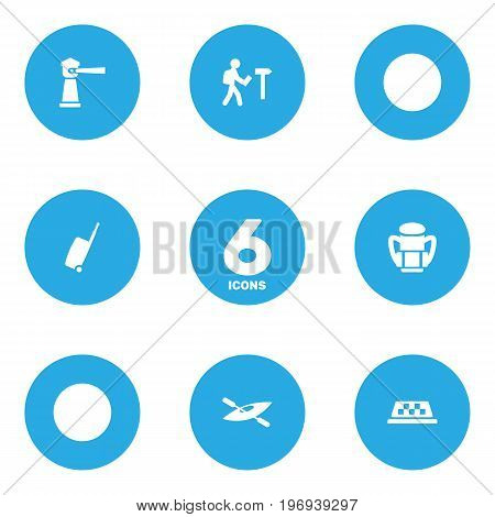 Collection Of Seamark, Canoe, Baggage And Other Elements.  Set Of 6 Relax Icons Set.