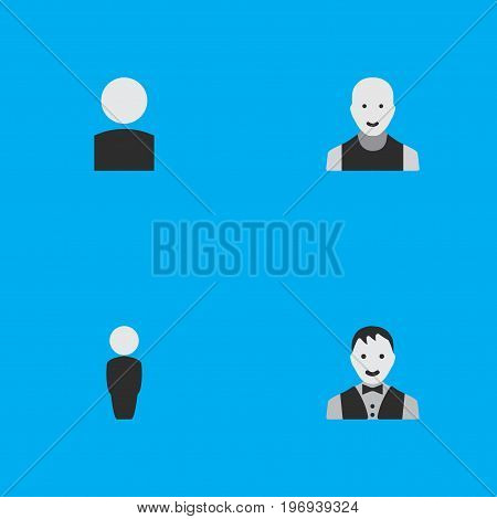 Elements Man, Person, Male And Other Synonyms Section, Shape And Profile.  Vector Illustration Set Of Simple Profile Icons.