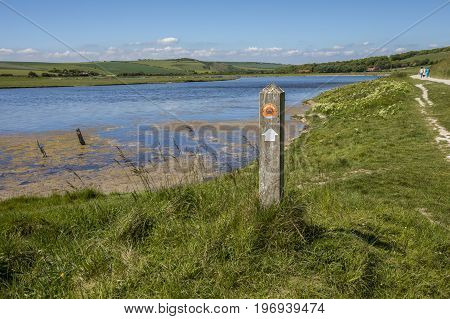 A view of the estuary at Cuckmere Haven situated in the Seven Sisters Country Park in East Sussex UK.