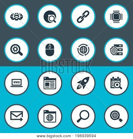 Elements Reroute, Clipboard, Motherboard And Other Synonyms Space, Internet And Cursor.  Vector Illustration Set Of Simple Search Icons.