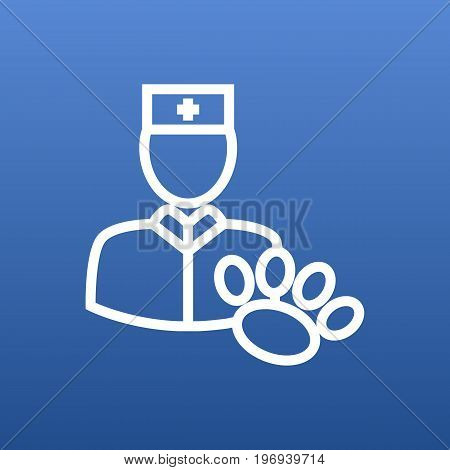 Vector Vet Element In Trendy Style.  Isolated Veterinarian Outline Symbol On Clean Background.