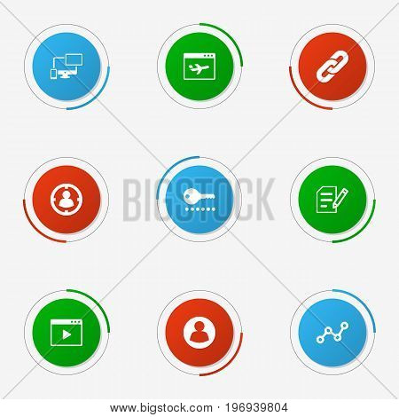 Collection Of Resulting, Author Rights, Targeting And Other Elements.  Set Of 9 Search Icons Set.