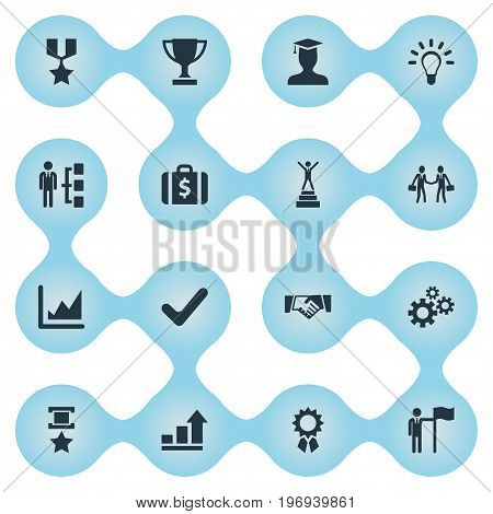 Elements Winner, Military Medal, Innovation And Other Synonyms Briefcase, Sign And Best.  Vector Illustration Set Of Simple Champion Icons.