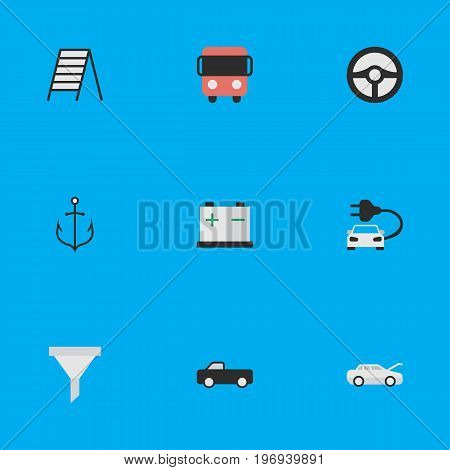 Elements Accumulator, Automobile, Steering And Other Synonyms Car, Battery And Anchor.  Vector Illustration Set Of Simple Shipping Icons.