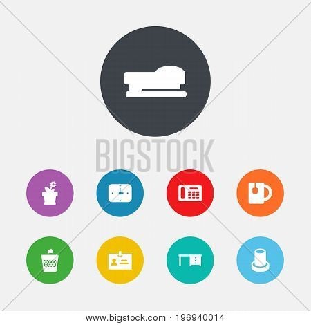 Collection Of Desktop, Flower, Time And Other Elements.  Set Of 9 Office Icons Set.