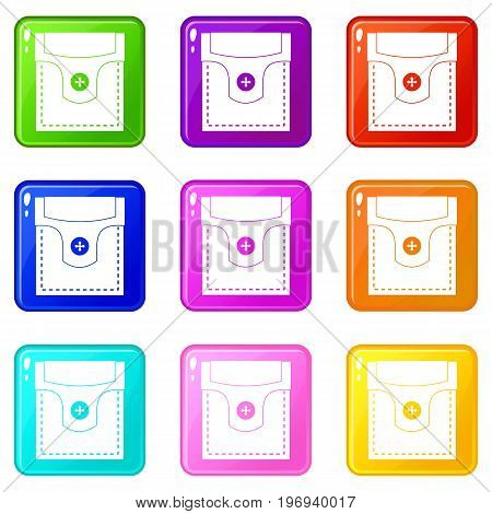 Valve pocket with button icons of 9 color set isolated vector illustration