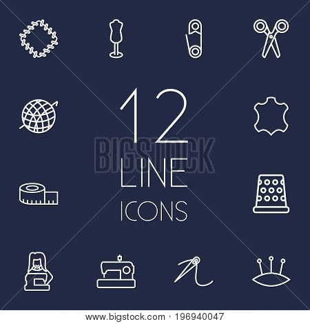 Collection Of Needle, Scissors, Leather And Other Elements.  Set Of 12 Stitch Outline Icons Set.