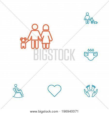 Collection Of Playing, Man In Armchair, Lovers And Other Elements.  Set Of 6 People Outline Icons Set.