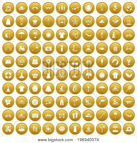 100 summer icons set in gold circle isolated on white vector illustration