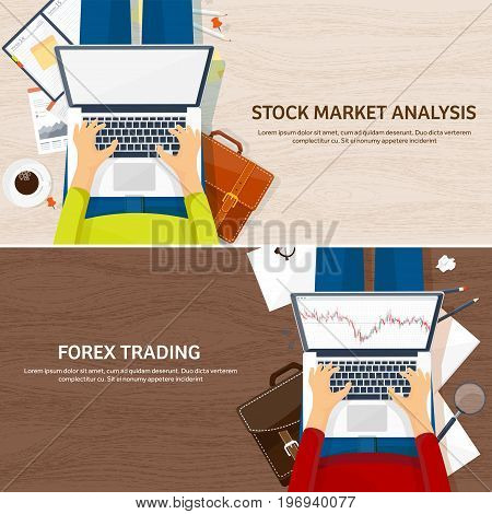 Vector illustration. Flat background. Market trade. Trading platform , account Money making business andnanaa Analysis Investing