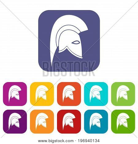 Roman helmet icons set vector illustration in flat style in colors red, blue, green, and other