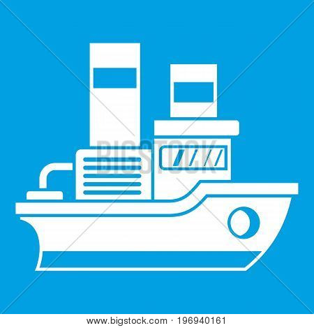 Small ship icon white isolated on blue background vector illustration