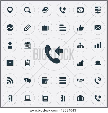 Elements Good, Diplomat, Handshake Synonyms Scroll, Mark And Agreement.  Vector Illustration Set Of Simple Company Icons.