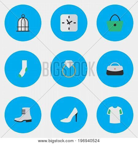 Elements Sock, Birdcage, Time And Other Synonyms Shirt, Warm And Woman.  Vector Illustration Set Of Simple Equipment Icons.