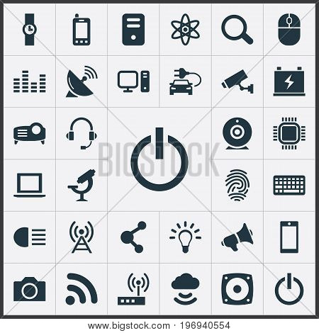 Elements Hand Clock, Control Device, Bulb Synonyms Mind, Modem And Bullhorn.  Vector Illustration Set Of Simple Hitech Icons.