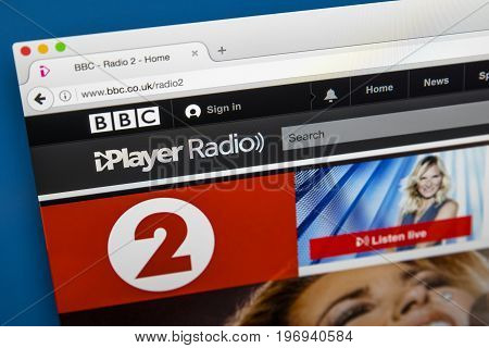 LONDON UK - JUNE 8TH 2017: The homepage of BBC Radio 2 on the BBC iPlayer website on 8th June 2017.