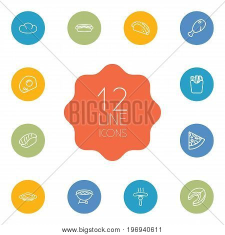 Collection Of Mexican Food, Raw Fish, Pasta And Other Elements.  Set Of 12 Food Outline Icons Set.