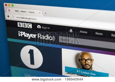 LONDON UK - JUNE 8TH 2017: The homepage of BBC Radio 1 on the BBC iPlayer website on 8th June 2017.