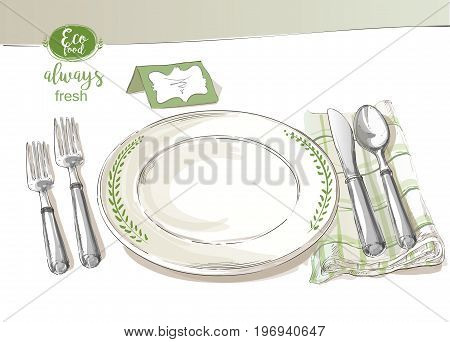 Vector cutlery set: forks, knives, spoons, empty plate on cloth napkin. Top view. Watercolor isolated illustration on white background.