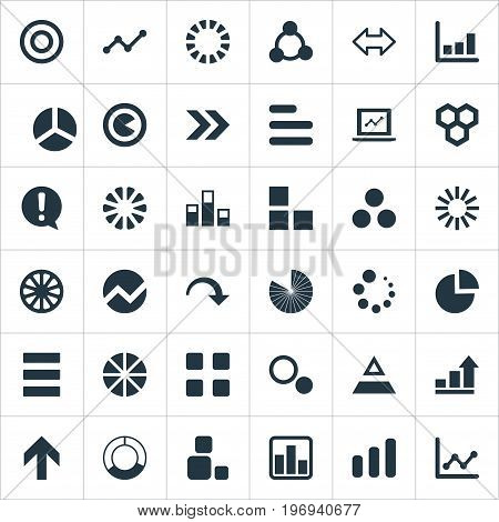 Elements Circular, Target, Ejaculation And Other Synonyms Graph, Circular And Composition.  Vector Illustration Set Of Simple Chart Icons.