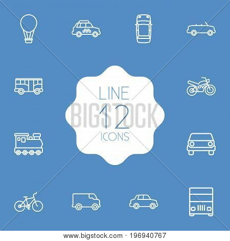 Collection Of Taxi, Car, Lorry And Other Elements.  Set Of 12 Transport Outline Icons Set.