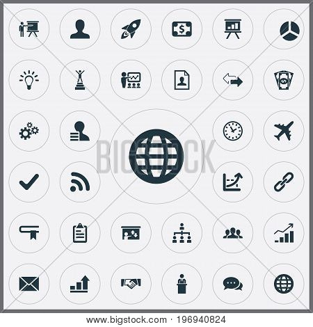 Elements Recruitment, Success, User And Other Synonyms Diagram, Handshake And Candidate.  Vector Illustration Set Of Simple Strategy Icons.