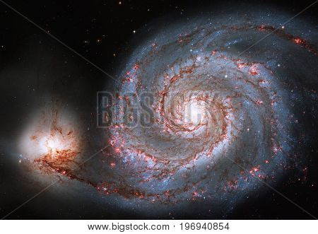 Whirlpool Galaxy. Spiral Galaxy M51 Or Ngc 5194.elements Of This Image Are Furnished By Nasa.