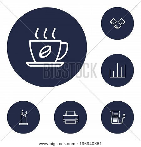 Collection Of Partnership, Agreement, Chart And Other Elements.  Set Of 6 Bureau Outline Icons Set.