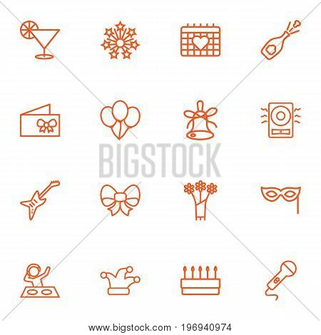 Collection Of Decorative, Card, Amplifier And Other Elements.  Set Of 16 Cocktail Outline Icons Set.