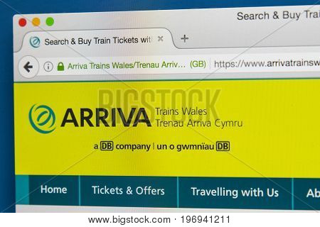 LONDON UK - JUNE 8TH 2017: The homepage of the official website for Arriva Trains Wales on 8th June 2017. Arriva is a British train operating company operating the Wales & Borders franchise.
