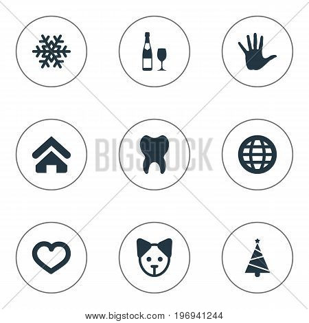 Elements Earth, Dog, Alcohol And Other Synonyms Dog, Home And Cure.  Vector Illustration Set Of Simple Brood Icons.