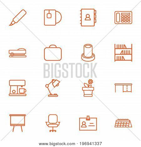 Collection Of Calendar, Desk, Tea And Other Elements.  Set Of 16 Bureau Outline Icons Set.