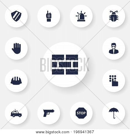 Collection Of Patrol, Shot, Hardhat And Other Elements.  Set Of 13 Security Icons Set.