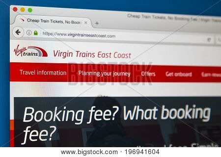 LONDON UK - JUNE 8TH 2017: The homepage of the official website for Virgin Trains East Coast on 8th June 2017.