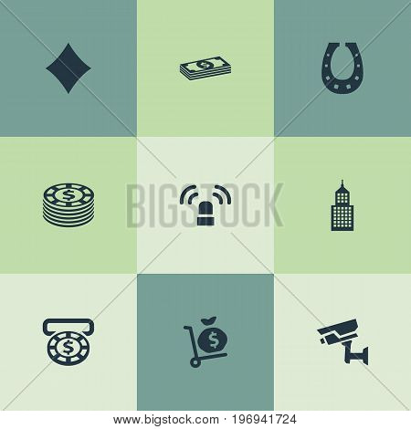 Elements Money Sack, Cash, Siren And Other Synonyms Currency, Money And Light.  Vector Illustration Set Of Simple Gambling Icons.